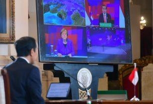 Presiden RI Jokowi dan Kanselir Jerman Angela Merkel saat secara resmi membuka Hannover Messe 2021, secara virtual, Senin (12/04/2021).
