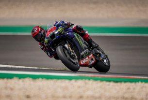 Pebalap tim Monster Energy Yamaha Fabio Quartararo menjalani sesi latihan bebas Grand Prix Portugal, Sirkuit Algarve, Portimao. (16/4/2021) (HO via Yamaha Motor Racing Srl)