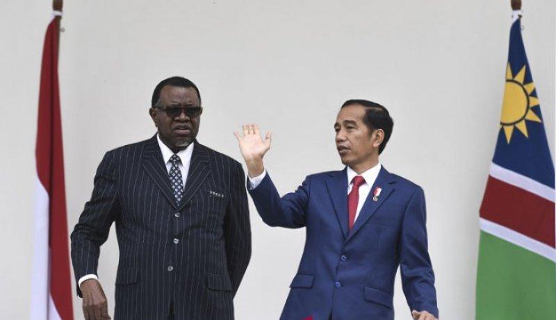 Dokumentasi - Presiden Joko Widodo berbincang dengan Presiden Namibia Hage Gottfried Geingob (kiri) saat kunjungan kenegaraan di Istana Kepresidenan Bogor, Jawa Barat, Kamis (30/8/2018). Foto : Antara