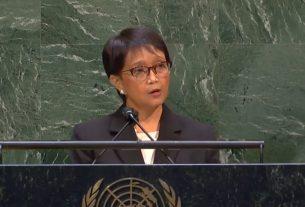 Menlu RI Retno Marsudi saat menyampaikan pernyataan dalam Debat Umum Sidang Pleno ke-67, Sidang Majelis Umum PBB yang berlangsung di Markas PBB, New York, AS, Kamis (20/05/2020).